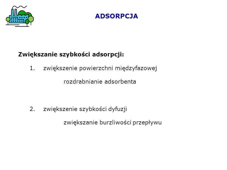 ADSORPCJA Zwiększanie szybkości adsorpcji: 1. zwiększenie powierzchni międzyfazowej rozdrabnianie adsorbenta 2. zwiększenie szybkości dyfuzji zwiększa