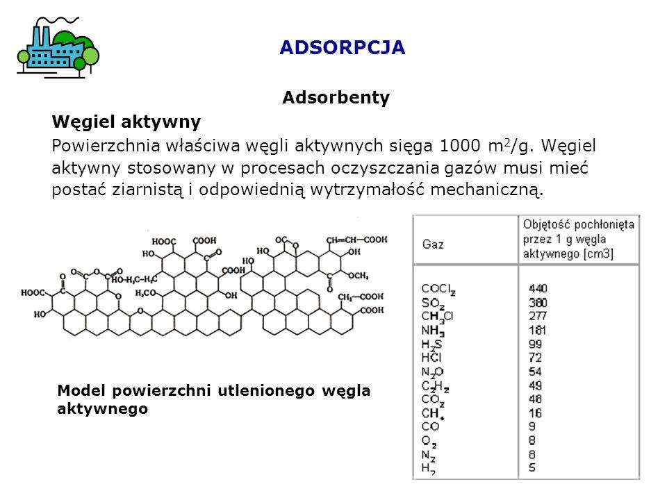 ADSORPCJA Adsorbenty Węgiel aktywny Powierzchnia właściwa węgli aktywnych sięga 1000 m 2 /g. Węgiel aktywny stosowany w procesach oczyszczania gazów m