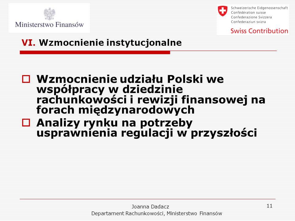 Joanna Dadacz Departament Rachunkowości, Ministerstwo Finansów 11 VI. Wzmocnienie instytucjonalne Wzmocnienie udziału Polski we współpracy w dziedzini
