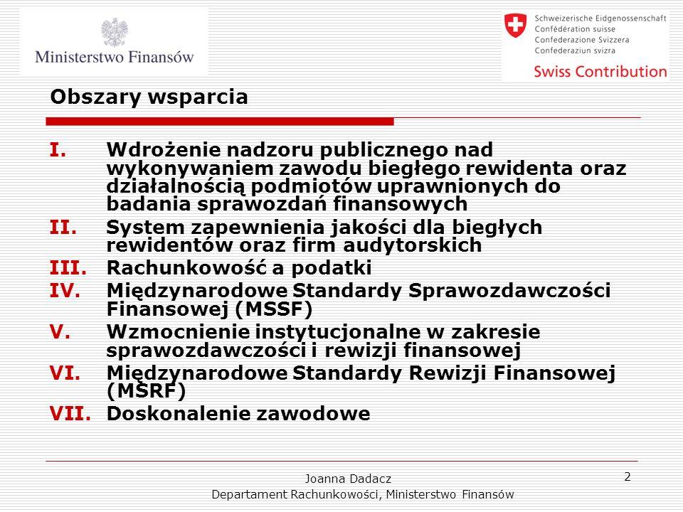 Joanna Dadacz Departament Rachunkowości, Ministerstwo Finansów 2 Obszary wsparcia I.Wdrożenie nadzoru publicznego nad wykonywaniem zawodu biegłego rew