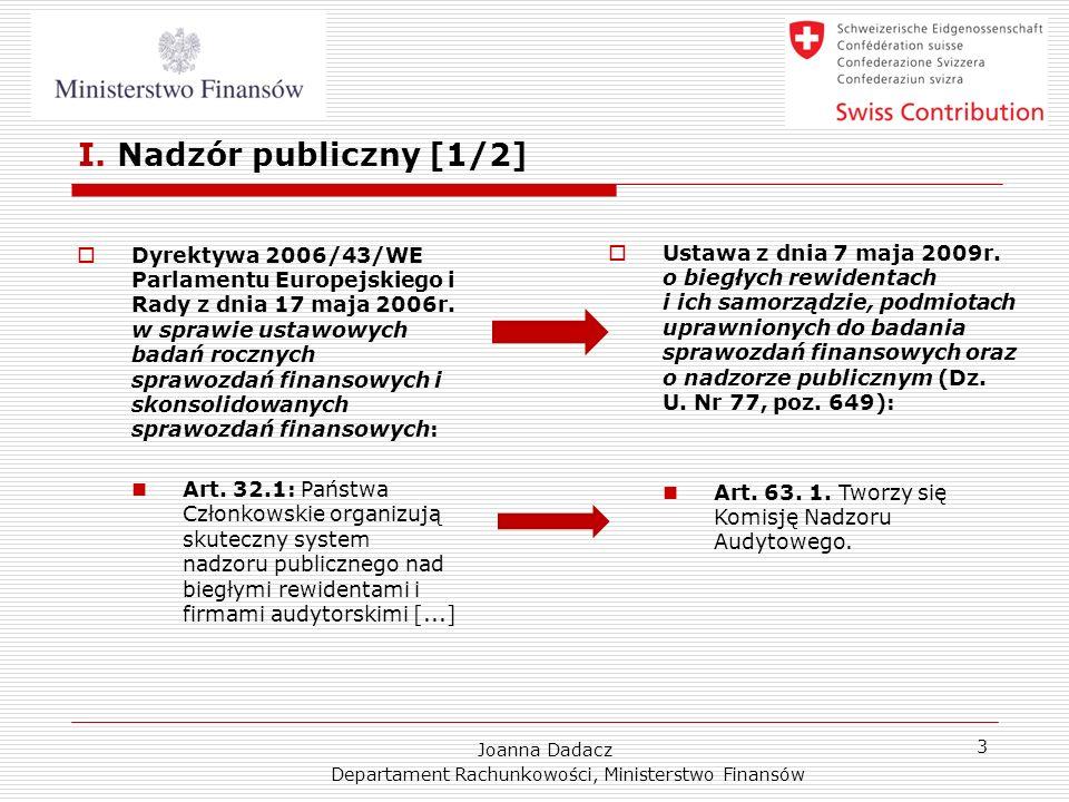 Joanna Dadacz Departament Rachunkowości, Ministerstwo Finansów 3 I. Nadzór publiczny [1/2] Dyrektywa 2006/43/WE Parlamentu Europejskiego i Rady z dnia