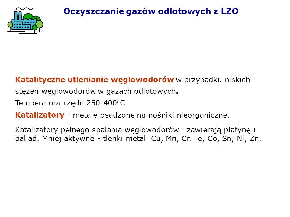 Katalityczne utlenianie węglowodorów w przypadku niskich stężeń węglowodorów w gazach odlotowych. Temperatura rzędu 250-400 o C. Katalizatory - metale