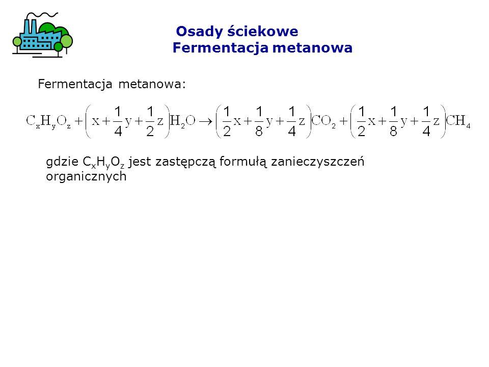 gdzie C x H y O z jest zastępczą formułą zanieczyszczeń organicznych Fermentacja metanowa: Osady ściekowe Fermentacja metanowa