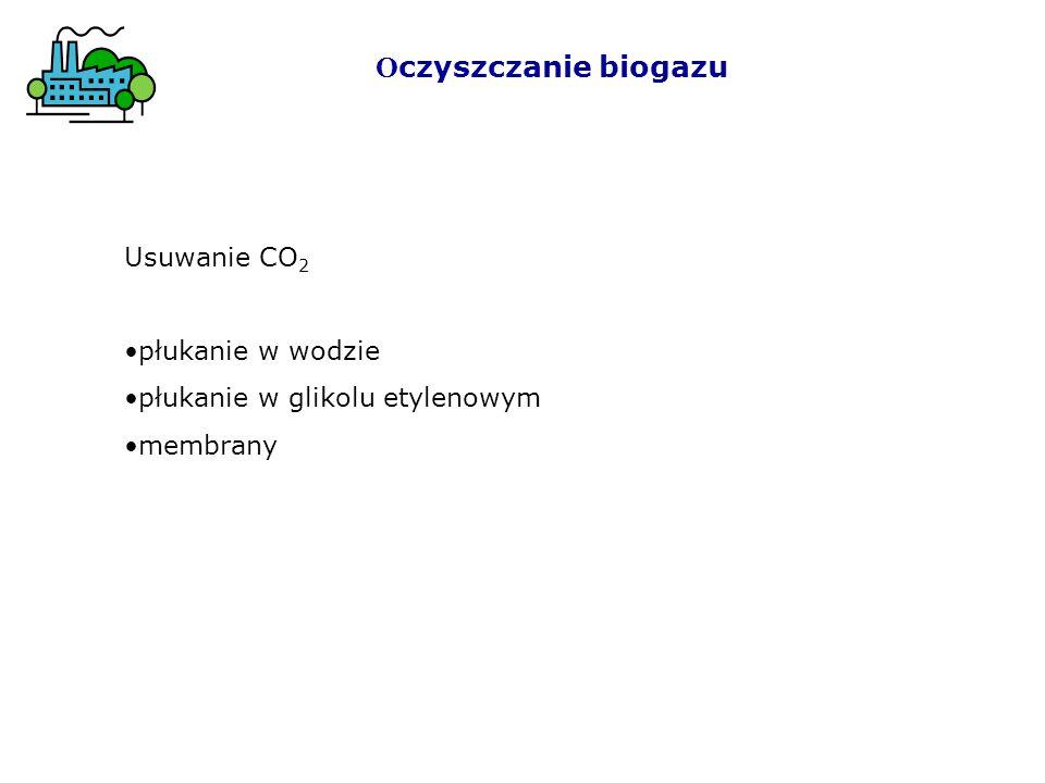 Usuwanie CO 2 płukanie w wodzie płukanie w glikolu etylenowym membrany O czyszczanie biogazu