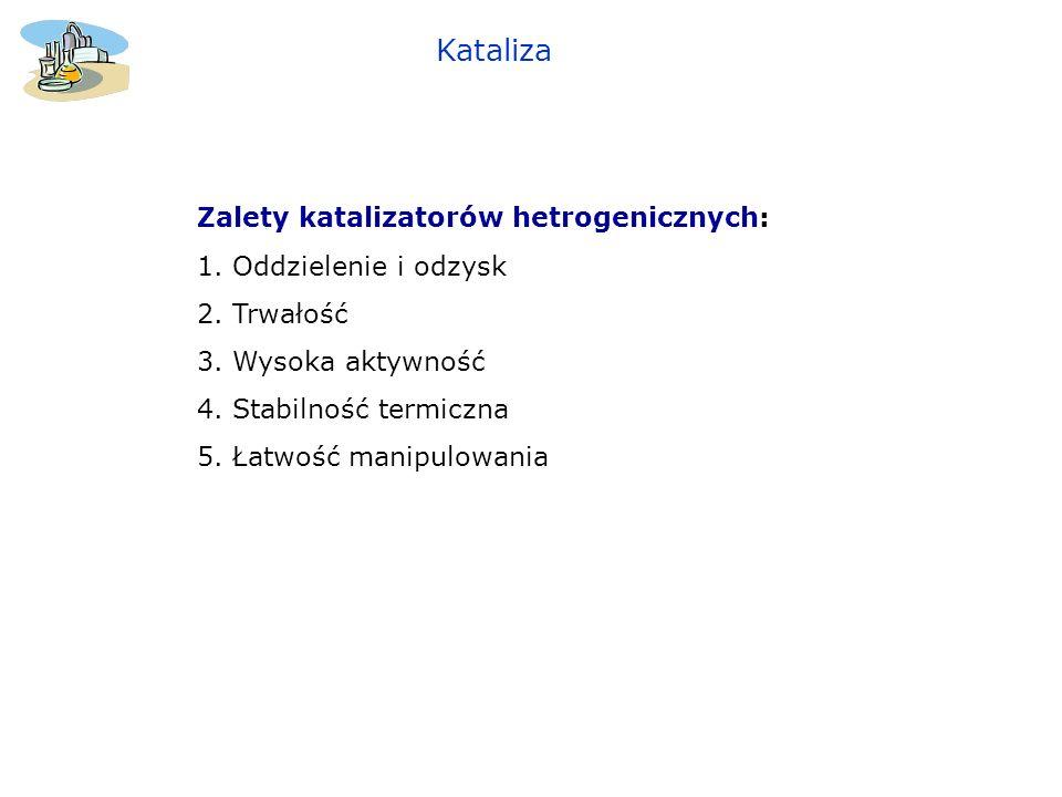 Zalety katalizatorów hetrogenicznych: 1. Oddzielenie i odzysk 2. Trwałość 3. Wysoka aktywność 4. Stabilność termiczna 5. Łatwość manipulowania Kataliz