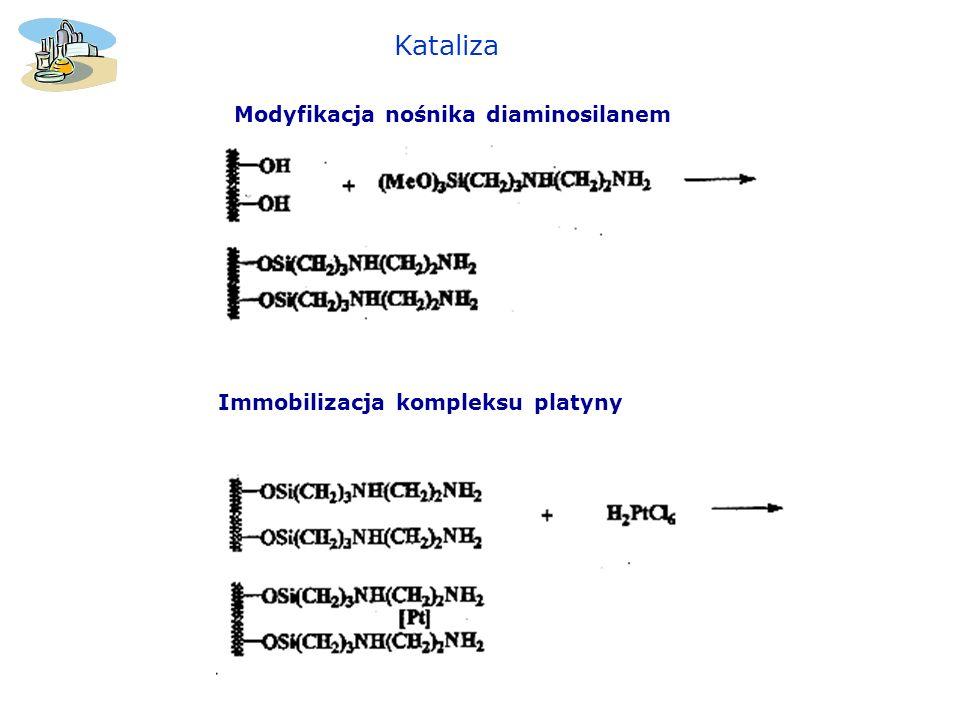 Modyfikacja nośnika diaminosilanem Immobilizacja kompleksu platyny Kataliza