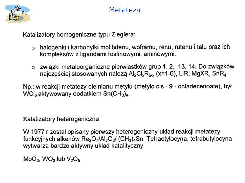 Katalizator Wilkinsona [PPh 3 ] 3 RhCl 1 – utleniająca addycja (najwolniejszy etap) 2- dysocjacja 3 – koordynacja 4 – migracja 5 – redukująca eliminacja 6 – zakończenie cyklu (1) (2) (3) (4) (5) (6)