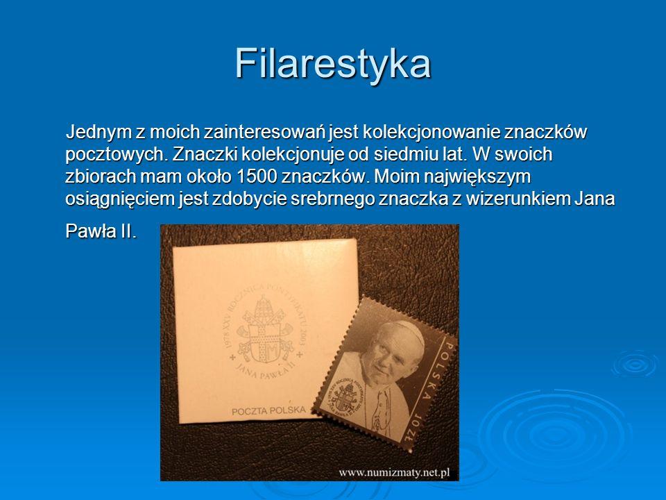 Filarestyka Jednym z moich zainteresowań jest kolekcjonowanie znaczków pocztowych. Znaczki kolekcjonuje od siedmiu lat. W swoich zbiorach mam około 15