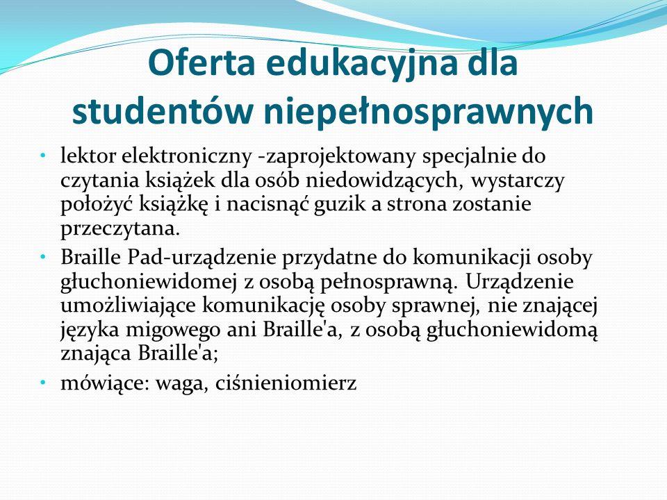 Oferta edukacyjna dla studentów niepełnosprawnych lektor elektroniczny -zaprojektowany specjalnie do czytania książek dla osób niedowidzących, wystarc