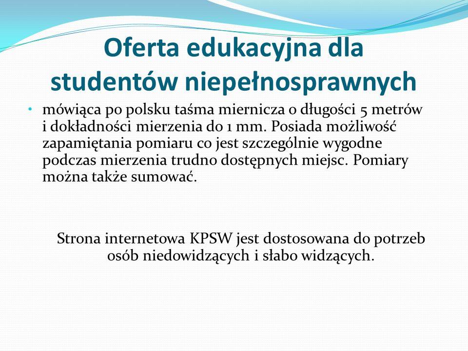 Oferta edukacyjna dla studentów niepełnosprawnych mówiąca po polsku taśma miernicza o długości 5 metrów i dokładności mierzenia do 1 mm. Posiada możli
