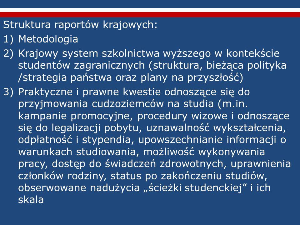 Struktura raportów krajowych: 1)Metodologia 2)Krajowy system szkolnictwa wyższego w kontekście studentów zagranicznych (struktura, bieżąca polityka /s