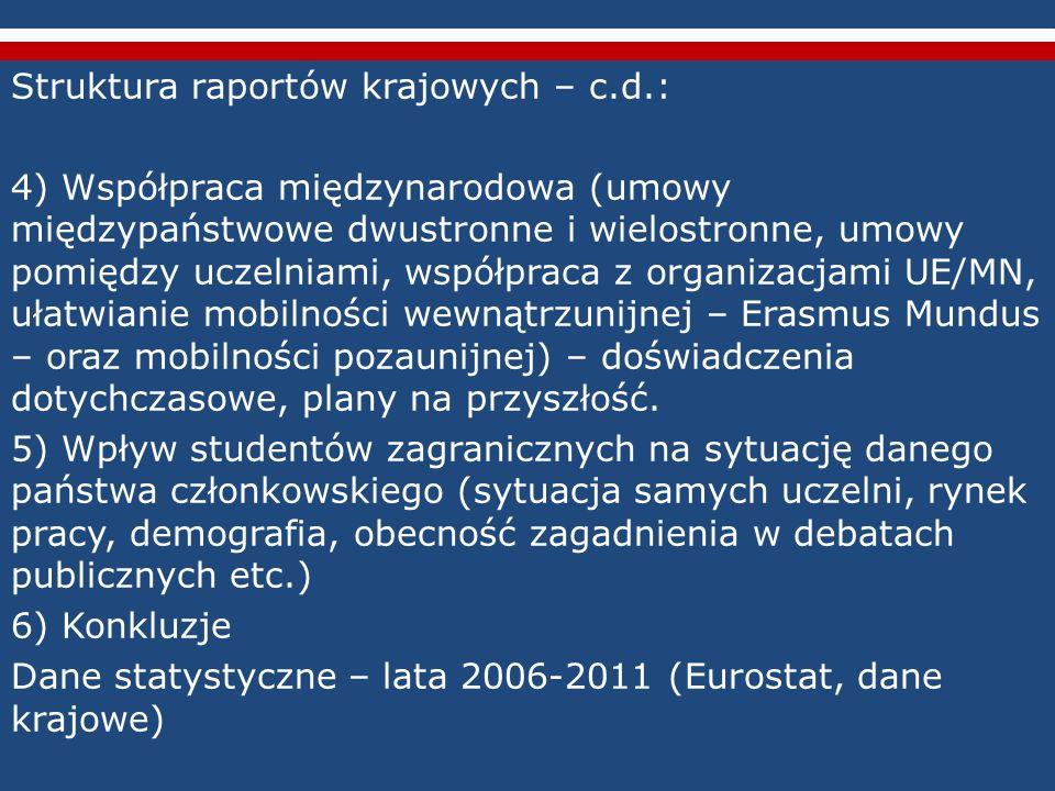Struktura raportów krajowych – c.d.: 4) Współpraca międzynarodowa (umowy międzypaństwowe dwustronne i wielostronne, umowy pomiędzy uczelniami, współpr