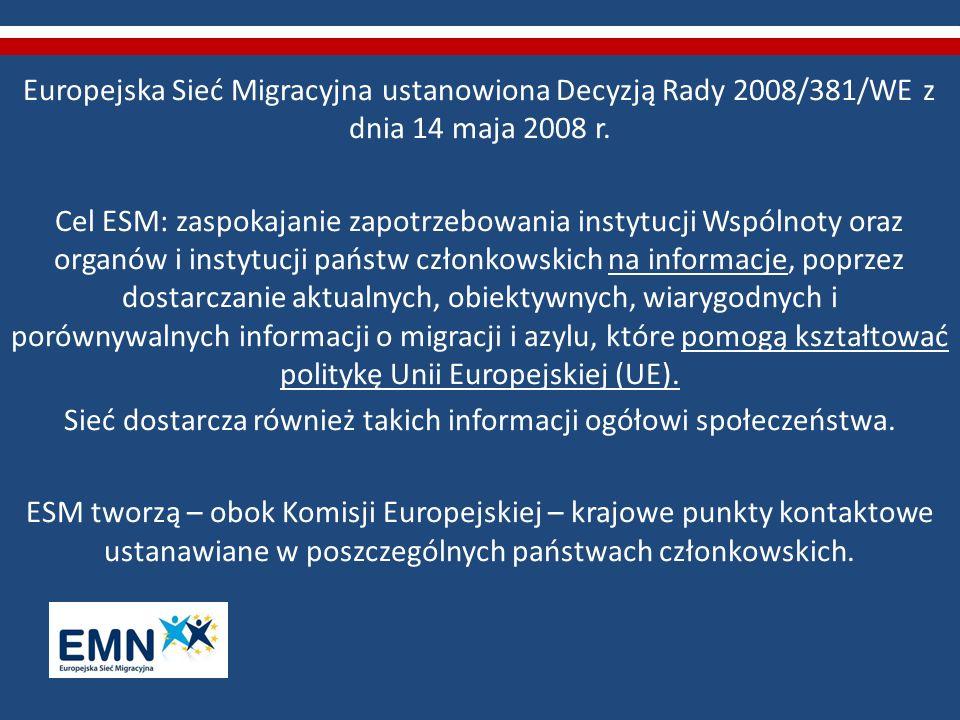Europejska Sieć Migracyjna ustanowiona Decyzją Rady 2008/381/WE z dnia 14 maja 2008 r. Cel ESM: zaspokajanie zapotrzebowania instytucji Wspólnoty oraz