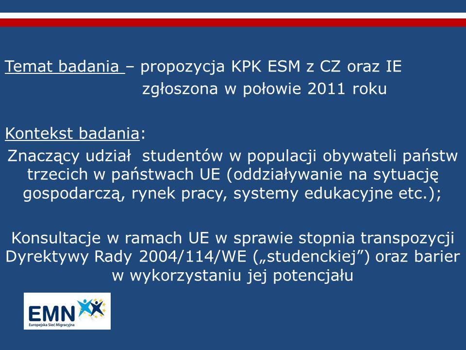 Temat badania – propozycja KPK ESM z CZ oraz IE zgłoszona w połowie 2011 roku Kontekst badania: Znaczący udział studentów w populacji obywateli państw