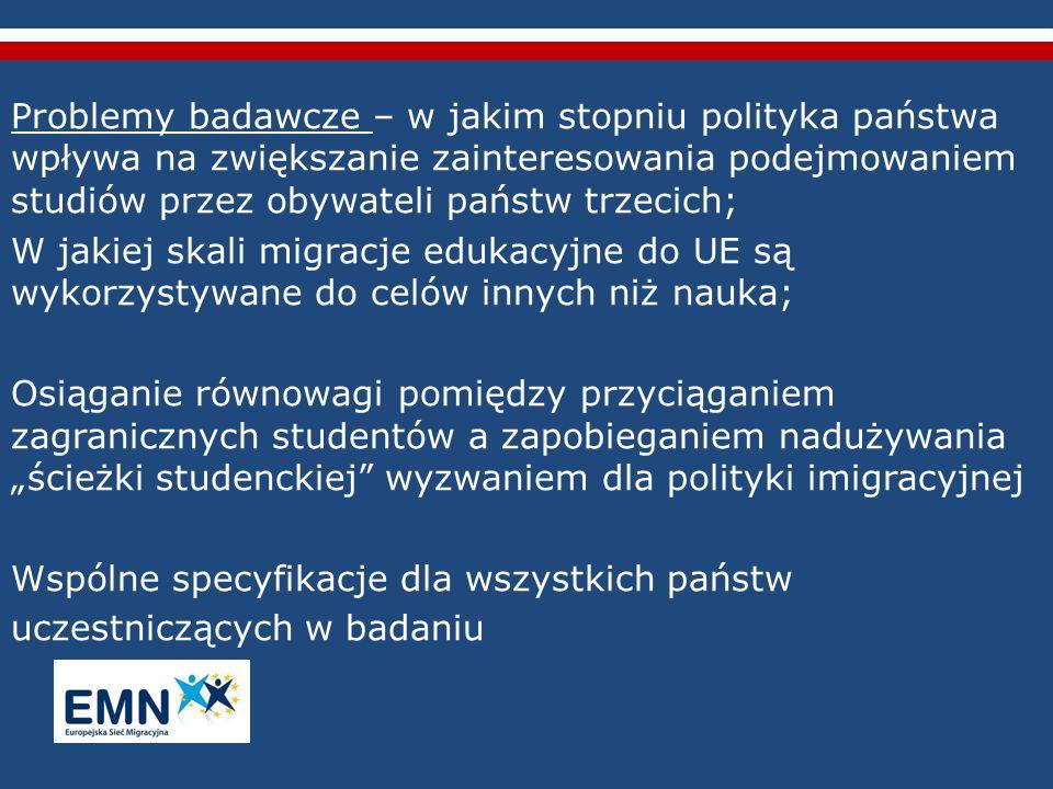 Dyrektywa Rady 2004/114/WE – warunki przyjmowania obywateli państw trzecich w celu podejmowania studiów (nie dotyczy IE, UK, DK, NO) Dostęp do studiów, rozmaite aspekty dotyczące zezwoleń pobytowych, możliwości pracy w trakcie studiów i po ich zakończeniu – bardzo zróżnicowane w UE; W badaniu ESM próba zidentyfikowania luk i wskazania obszarów problematycznych, które powinny zostać ulepszone w nowej Dyrektywie