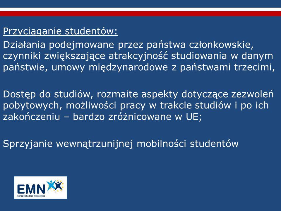 Przyciąganie studentów: Działania podejmowane przez państwa członkowskie, czynniki zwiększające atrakcyjność studiowania w danym państwie, umowy międz