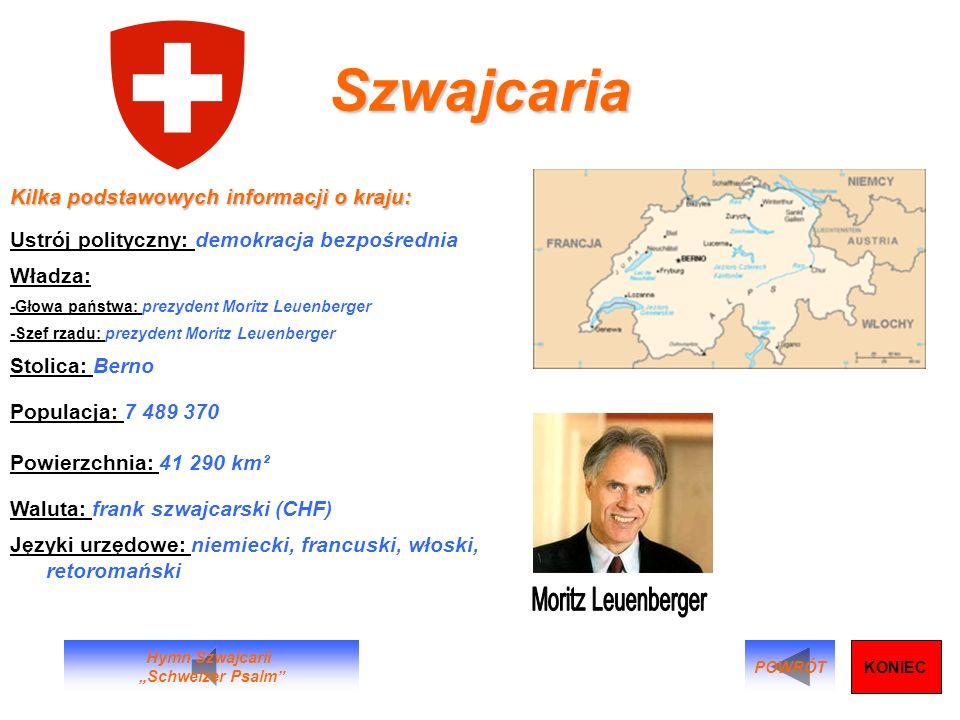 Szwajcaria Kilka podstawowych informacji o kraju: Ustrój polityczny: demokracja bezpośrednia Władza: -Głowa państwa: prezydent Moritz Leuenberger -Sze