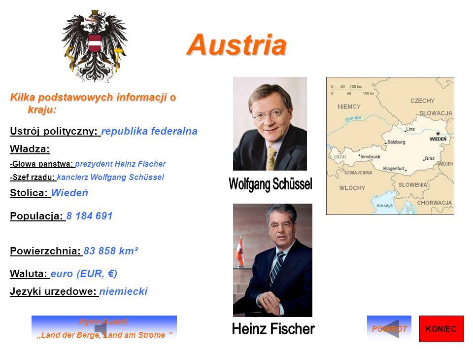 Austria Kilka podstawowych informacji o kraju: Ustrój polityczny: republika federalna Władza: -Głowa państwa: prezydent Heinz Fischer -Szef rządu: kan