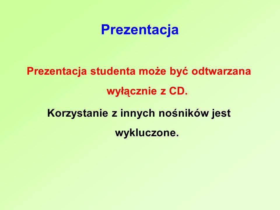 Prezentacja Prezentacja studenta może być odtwarzana wyłącznie z CD. Korzystanie z innych nośników jest wykluczone.