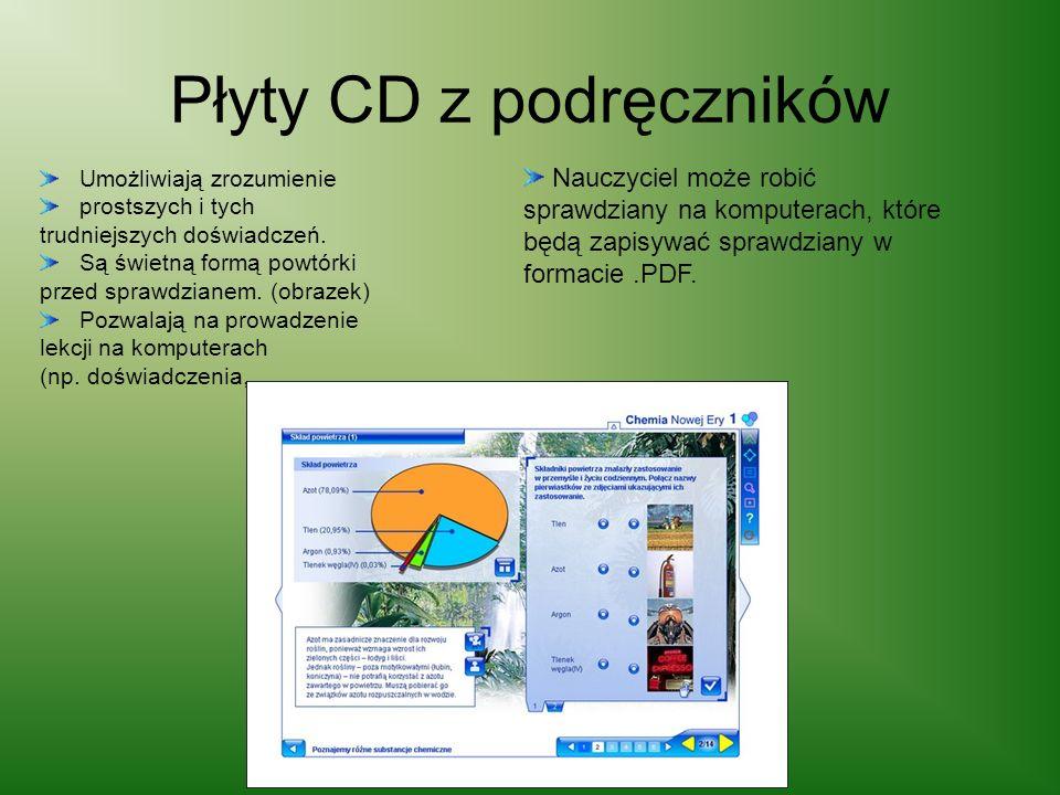 Płyty CD z podręczników Umożliwiają zrozumienie prostszych i tych trudniejszych doświadczeń. Są świetną formą powtórki przed sprawdzianem. (obrazek) P