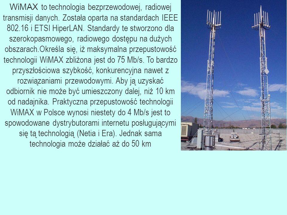 WiMAX to technologia bezprzewodowej, radiowej transmisji danych.