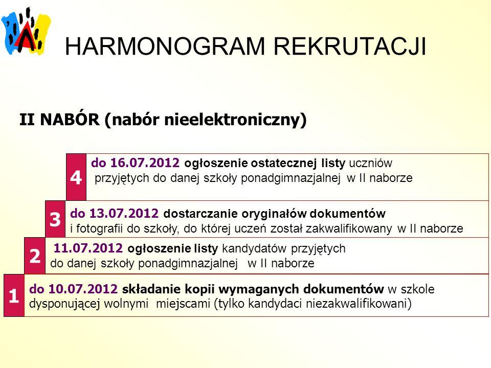 HARMONOGRAM REKRUTACJI, II NABÓR (nabór nieelektroniczny) 1 do 13.07.2012 dostarczanie oryginałów dokumentów i fotografii do szkoły, do której uczeń z