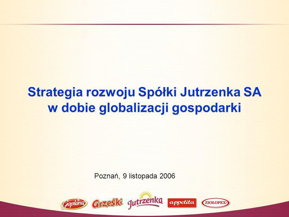 Strategia rozwoju Spółki Jutrzenka SA w dobie globalizacji gospodarki Poznań, 9 listopada 2006
