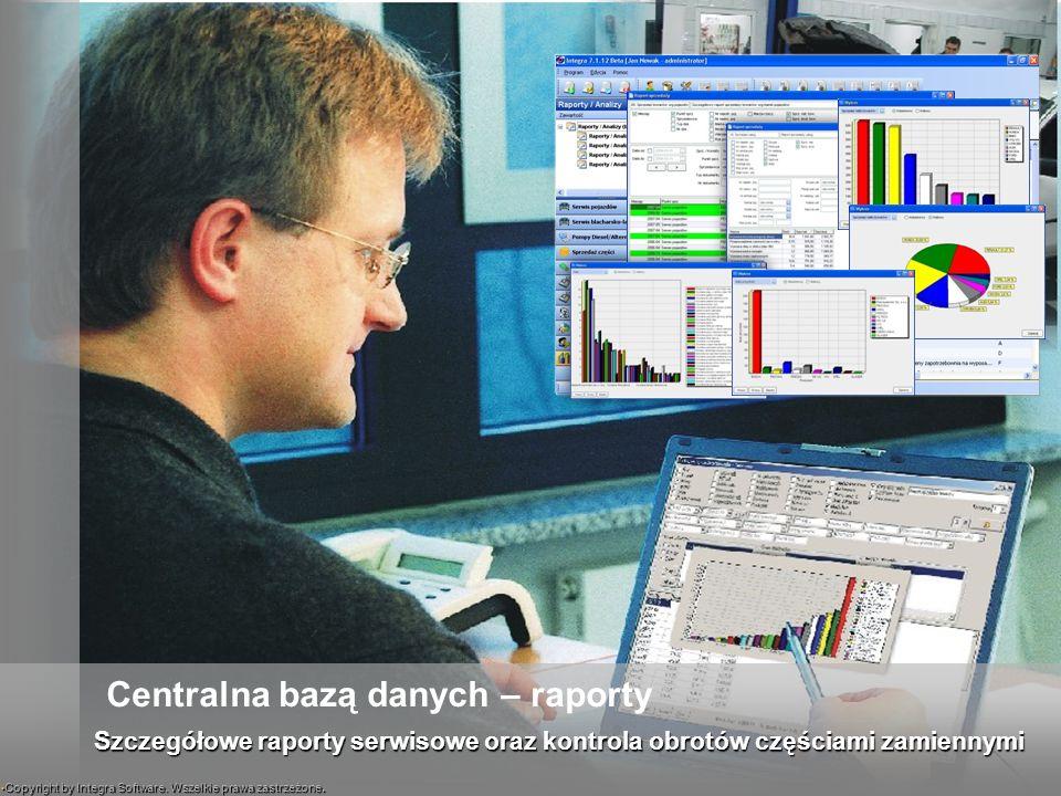 Szczegółowe raporty serwisowe oraz kontrola obrotów częściami zamiennymi Centralna bazą danych – raporty Copyright by Integra Software. Wszelkie prawa
