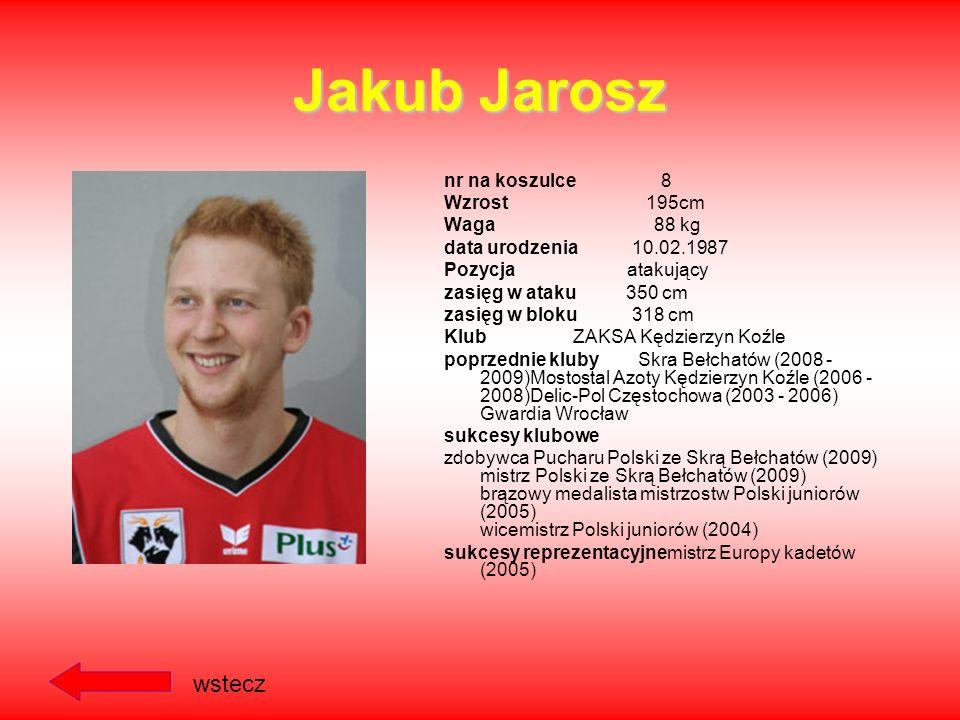 Bartosz Kurek nr na koszulce 6 Wzrost 205 cm Waga 87 kg data urodzenia 29.08.1988 Pozycja przyjmujący zasięg w ataku 352cm zasięg w bloku 326cm Klub S