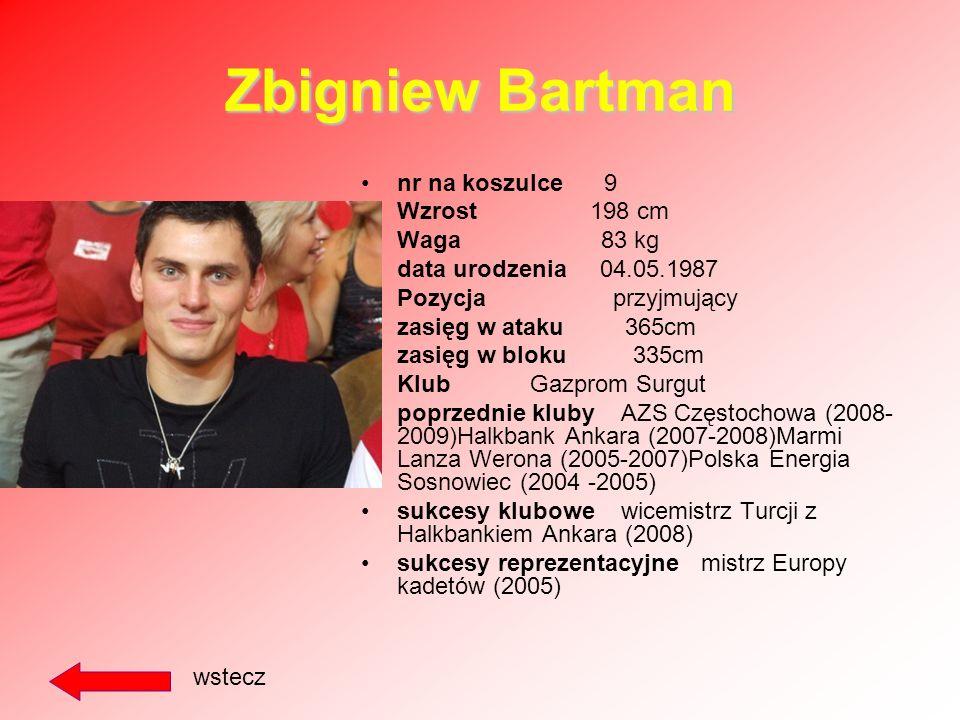 Jakub Jarosz nr na koszulce 8 Wzrost 195cm Waga 88 kg data urodzenia 10.02.1987 Pozycja atakujący zasięg w ataku 350 cm zasięg w bloku 318 cm Klub ZAK