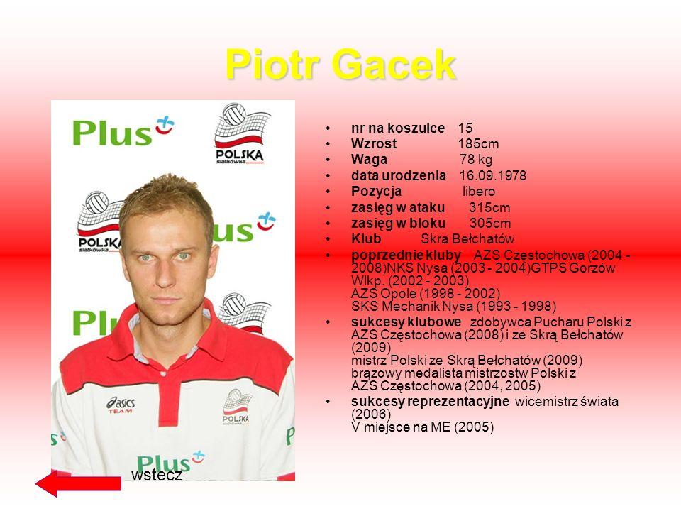 Michał Ruciak nr na koszulce 15 Wzrost 189 cm Waga 78 kg data urodzenia 22.07.1983 Pozycja przyjmujący zasięg w ataku 338cm zasięg w bloku 312cm Klub
