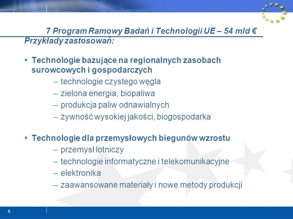 5 7 Program Ramowy Badań i Technologii UE – 54 mld Przykłady zastosowań: Technologie bazujące na regionalnych zasobach surowcowych i gospodarczych –technologie czystego węgla –zielona energia, biopaliwa –produkcja paliw odnawialnych –żywność wysokiej jakości, biogospodarka Technologie dla przemysłowych biegunów wzrostu –przemysł lotniczy –technologie informatyczne i telekomunikacyjne –elektronika –zaawansowane materiały i nowe metody produkcji
