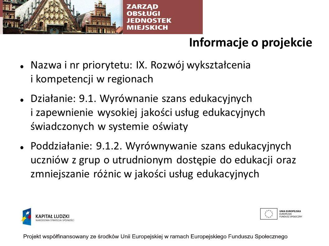 Informacje o projekcie Cel projektu: Celem głównym projektu jest dostosowanie oferty edukacyjnej 9 wrocławskich gimnazjów do warunków lokalnego rynku pracy oraz wzrost kompetencji kluczowych w kontekście przygotowania do wejścia na lokalny rynek pracy