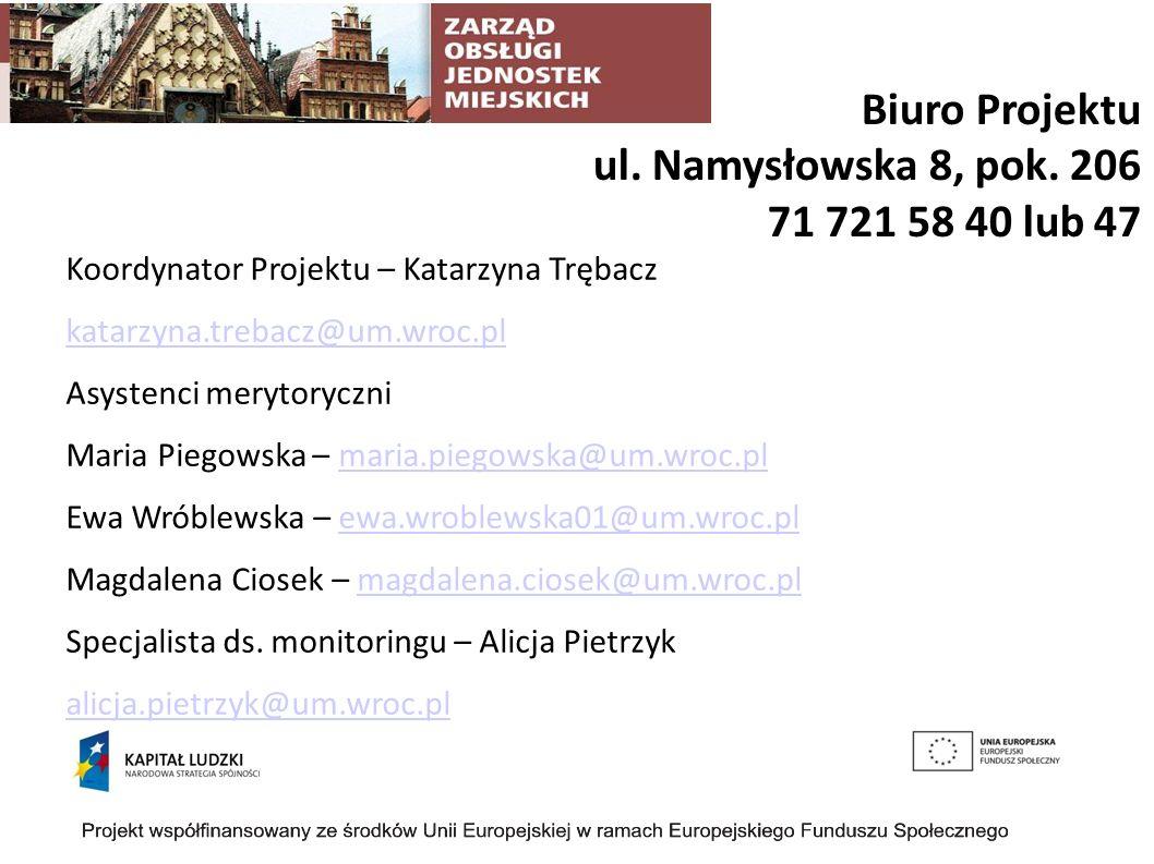 Biuro Projektu ul.Namysłowska 8, pok.