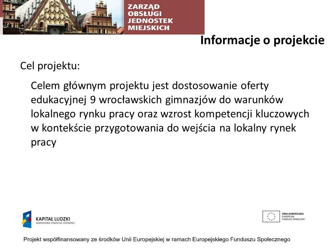 Informacje o projekcie Cel projektu: Celem głównym projektu jest dostosowanie oferty edukacyjnej 9 wrocławskich gimnazjów do warunków lokalnego rynku