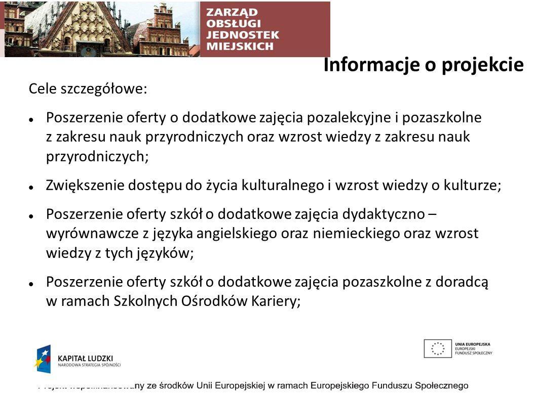 Informacje o projekcie Cele szczegółowe: Poszerzenie oferty o dodatkowe zajęcia pozalekcyjne i pozaszkolne z zakresu nauk przyrodniczych oraz wzrost w