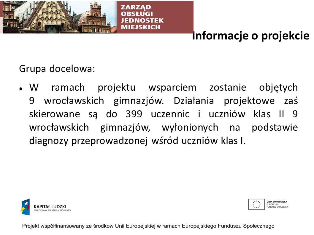 Informacje o projekcie Grupa docelowa: W ramach projektu wsparciem zostanie objętych 9 wrocławskich gimnazjów. Działania projektowe zaś skierowane są