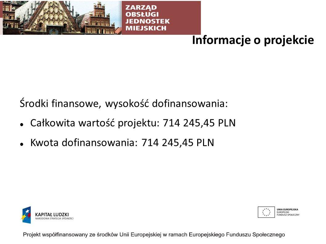 Informacje o projekcie Środki finansowe, wysokość dofinansowania: Całkowita wartość projektu: 714 245,45 PLN Kwota dofinansowania: 714 245,45 PLN