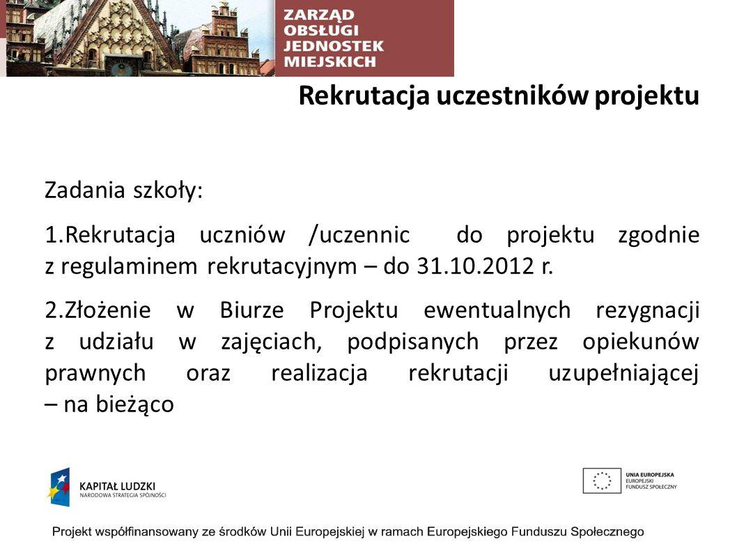 Rekrutacja uczestników projektu Zadania szkoły: 1.Rekrutacja uczniów /uczennic do projektu zgodnie z regulaminem rekrutacyjnym – do 31.10.2012 r.