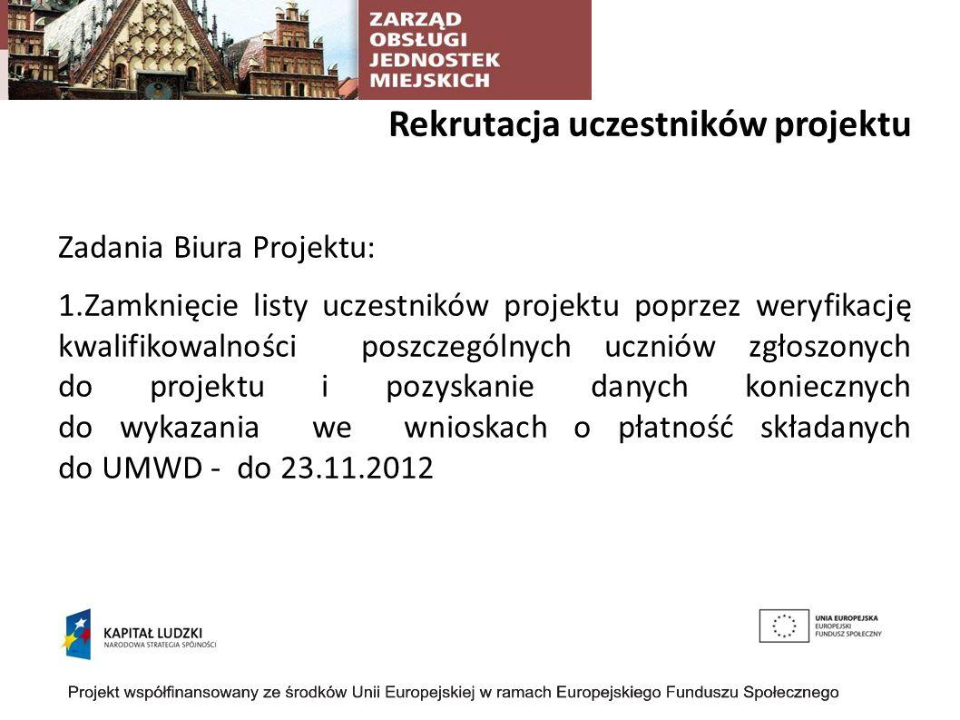 Rekrutacja uczestników projektu Zadania Biura Projektu: 1.Zamknięcie listy uczestników projektu poprzez weryfikację kwalifikowalności poszczególnych uczniów zgłoszonych do projektu i pozyskanie danych koniecznych do wykazania we wnioskach o płatność składanych do UMWD - do 23.11.2012