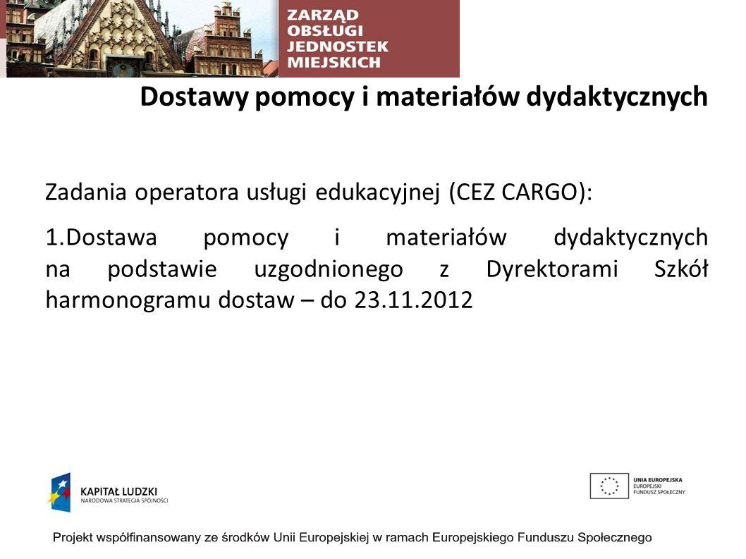 Dostawy pomocy i materiałów dydaktycznych Zadania operatora usługi edukacyjnej (CEZ CARGO): 1.Dostawa pomocy i materiałów dydaktycznych na podstawie uzgodnionego z Dyrektorami Szkół harmonogramu dostaw – do 23.11.2012