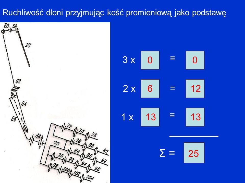Ruchliwość dłoni przyjmując kość promieniową jako podstawę 3 x = = = 2 x 1 x Σ = 0 6 13 0 12 13 25