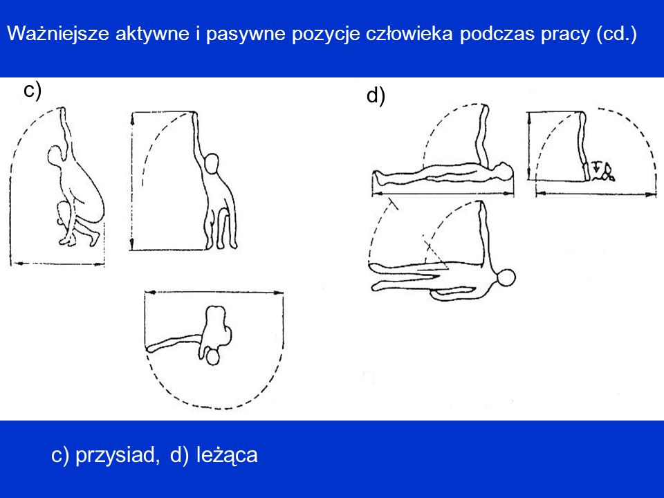 Ważniejsze aktywne i pasywne pozycje człowieka podczas pracy (cd.) c) d) c) przysiad, d) leżąca