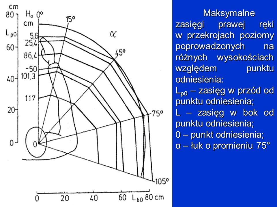 Maksymalne zasięgi prawej ręki w przekrojach poziomy poprowadzonych na różnych wysokościach względem punktu odniesienia: L p0 – zasięg w przód od punk