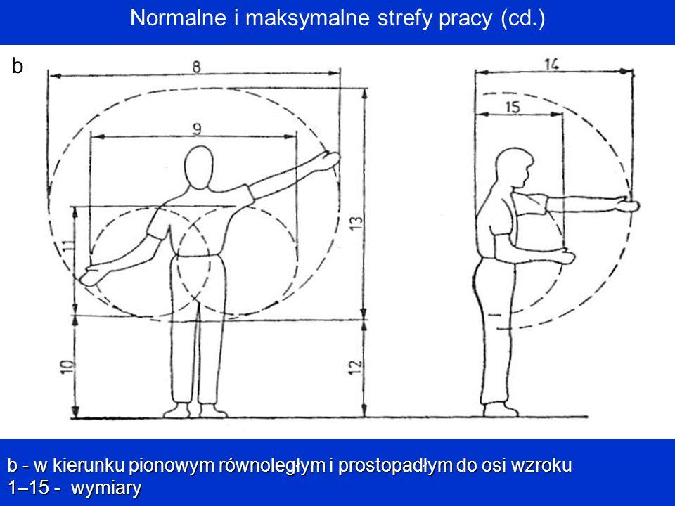 Normalne i maksymalne strefy pracy (cd.)b b - w kierunku pionowym równoległym i prostopadłym do osi wzroku 1–15 - wymiary