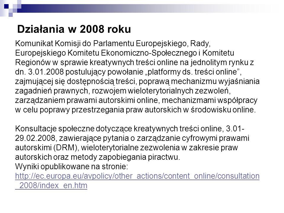 Działania w bibliotekach polskich Pozyskiwanie przez polskie biblioteki cyfrowe licencji niewyłącznych na publikację wersji cyfrowych dzieł pozostających pod ochroną prawa autorskiego (prace naukowe w bibliotekach akademickich, dzieła literackie i twórczość artystyczna) Publikowanie dzieł osieroconych, po dokładnych badaniach zmierzających do ustalenia autorstwa Dokumenty pozostające pod ochroną praw autorskich i pokrewnych są publikowane w bibliotekach cyfrowych i udostępniane wyłącznie na serwerach lokalnych (Intranet) Zachęcanie autorów do korzystania z licencji Creative Commons