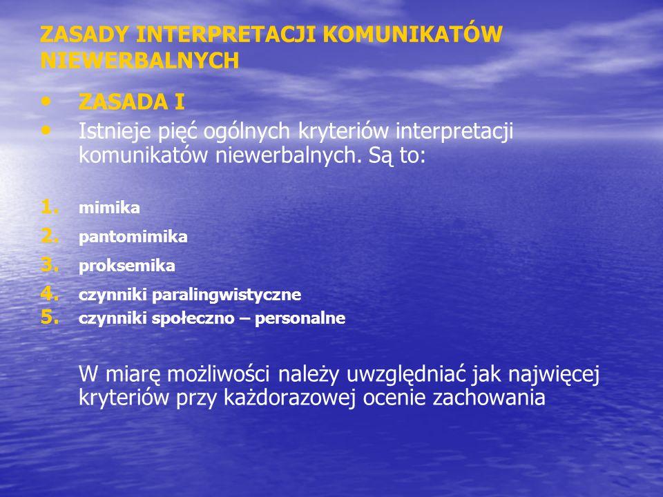 ZASADY INTERPRETACJI KOMUNIKATÓW NIEWERBALNYCH ZASADA I Istnieje pięć ogólnych kryteriów interpretacji komunikatów niewerbalnych. Są to: 1. 1. mimika