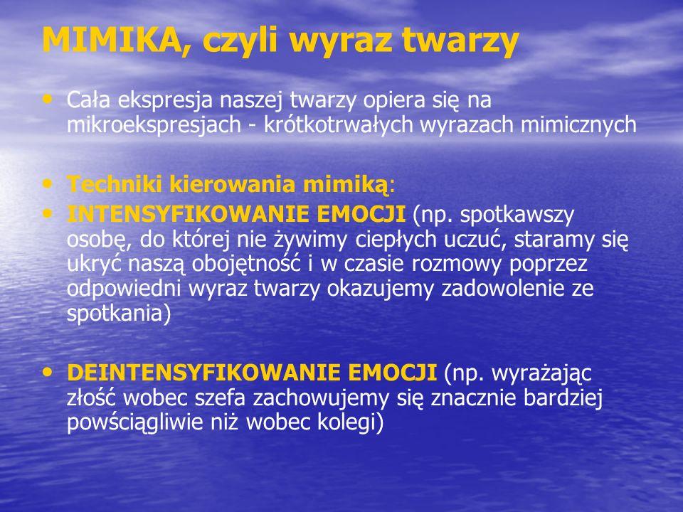 MIMIKA, czyli wyraz twarzy Cała ekspresja naszej twarzy opiera się na mikroekspresjach - krótkotrwałych wyrazach mimicznych Techniki kierowania mimiką