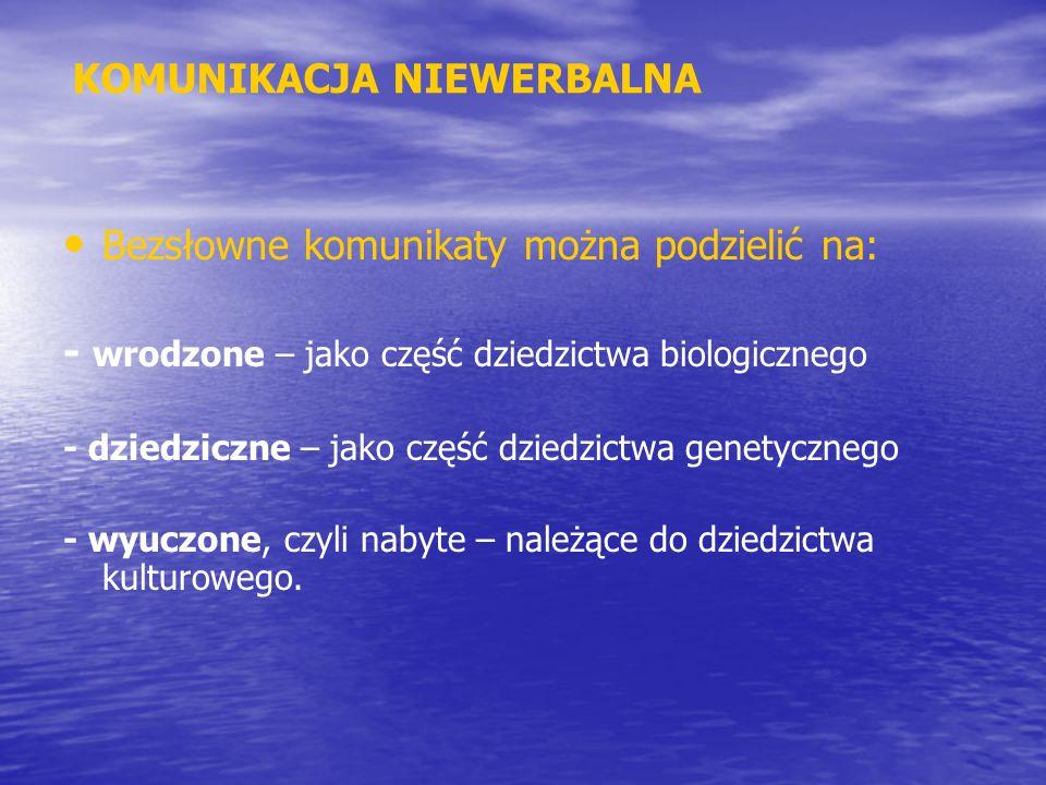 KOMUNIKACJA NIEWERBALNA Bezsłowne komunikaty można podzielić na: - wrodzone – jako część dziedzictwa biologicznego - dziedziczne – jako część dziedzic