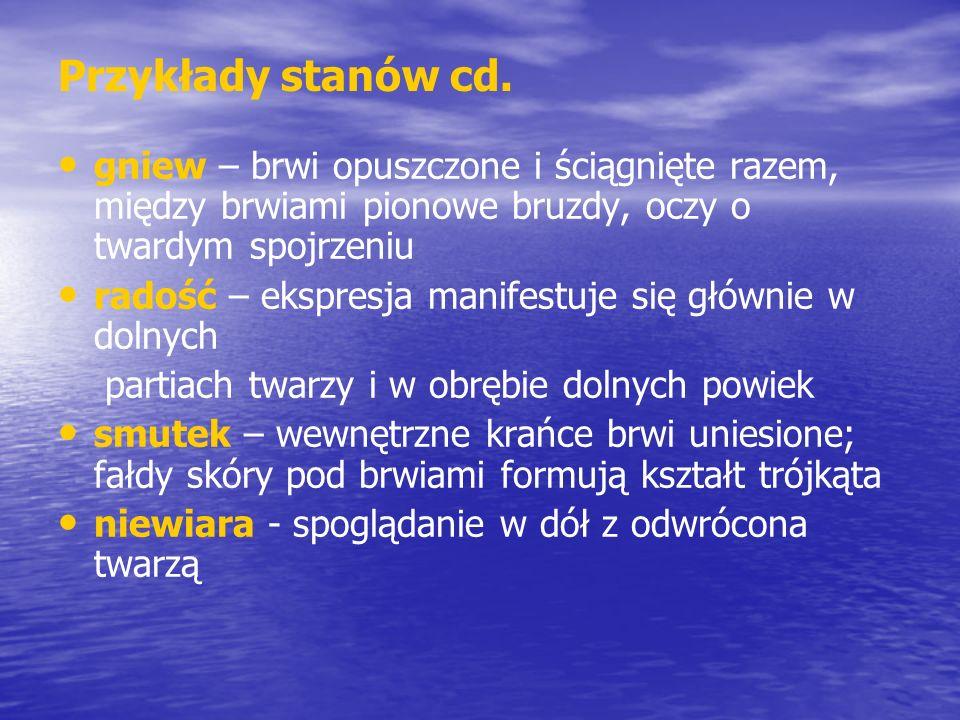 Przykłady stanów cd. gniew – brwi opuszczone i ściągnięte razem, między brwiami pionowe bruzdy, oczy o twardym spojrzeniu radość – ekspresja manifestu